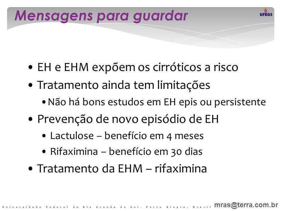 Mensagens para guardar • EH e EHM expõem os cirróticos a risco • Tratamento ainda tem limitações •Não há bons estudos em EH epis ou persistente • Prev
