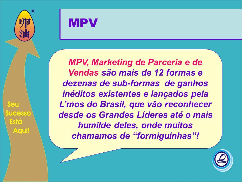 MPV, Marketing de Parceria e de Vendas são mais de 12 formas e dezenas de sub-formas de ganhos inéditos existentes e lançados pela L'mos do Brasil, qu
