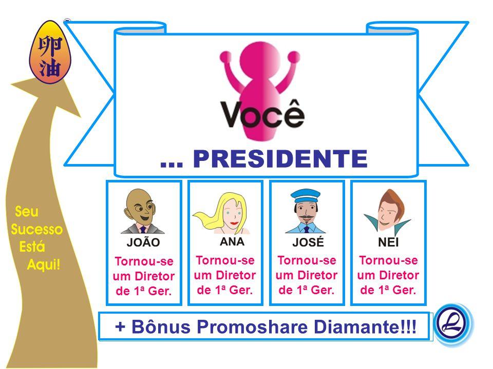... PRESIDENTE + Bônus Promoshare Diamante!!! Tornou-se um Diretor de 1ª Ger.