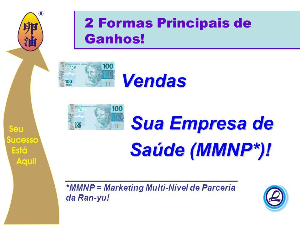 Vendas Sua Empresa de Saúde (MMNP*)! Saúde (MMNP*)! 2 Formas Principais de Ganhos! *MMNP = Marketing Multi-Nível de Parceria da Ran-yu!