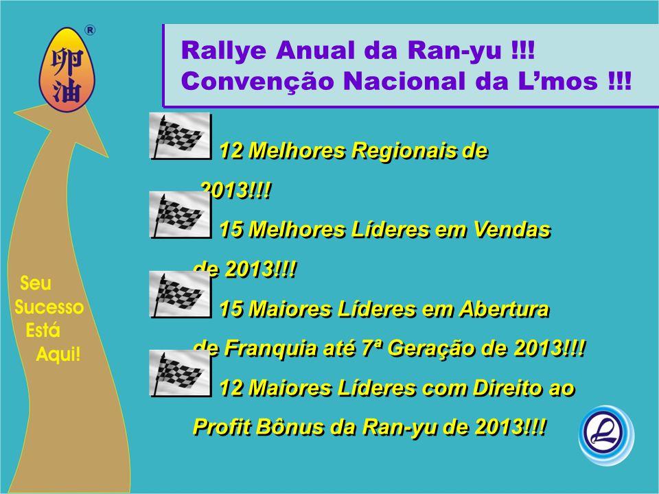 Rallye Anual da Ran-yu !!! Convenção Nacional da L'mos !!! 12 Melhores Regionais de 2013!!! 15 Melhores Líderes em Vendas de 2013!!! 15 Maiores Lídere