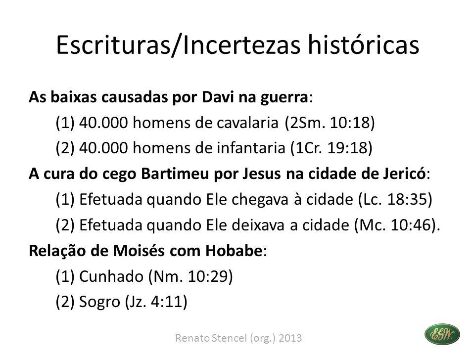Escrituras/Incertezas históricas As baixas causadas por Davi na guerra: (1) 40.000 homens de cavalaria (2Sm. 10:18) (2) 40.000 homens de infantaria (1
