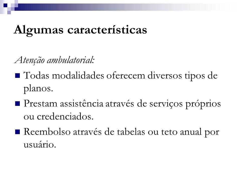 Algumas características Atenção ambulatorial:  Todas modalidades oferecem diversos tipos de planos.