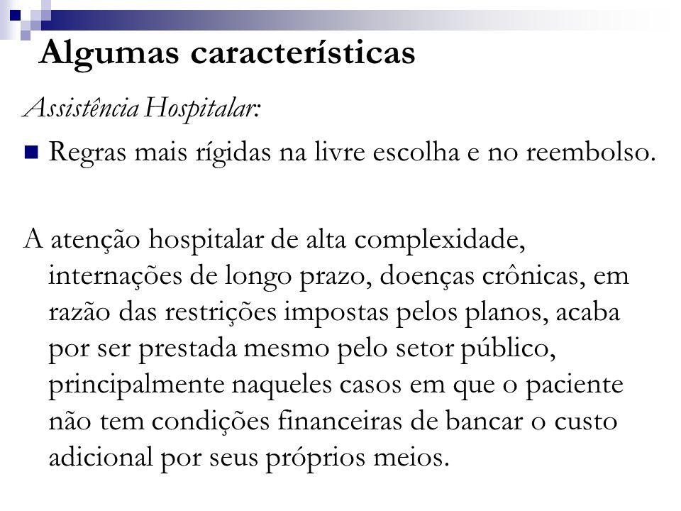 Algumas características Assistência Hospitalar:  Regras mais rígidas na livre escolha e no reembolso.