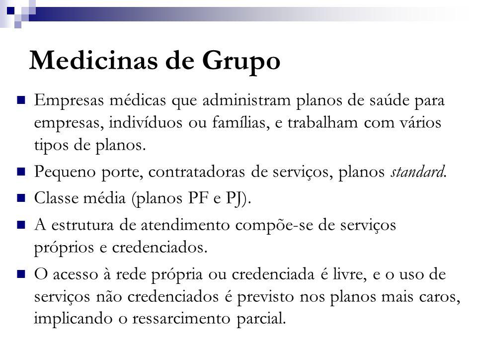 Medicinas de Grupo  Empresas médicas que administram planos de saúde para empresas, indivíduos ou famílias, e trabalham com vários tipos de planos.