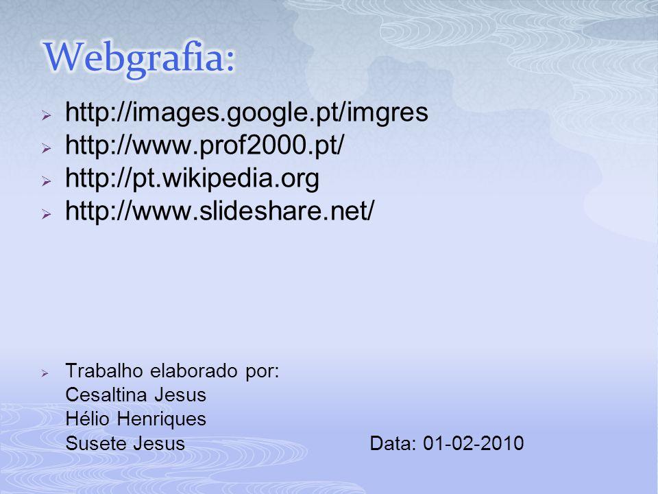  http://images.google.pt/imgres  http://www.prof2000.pt/  http://pt.wikipedia.org  http://www.slideshare.net/  Trabalho elaborado por: Cesaltina