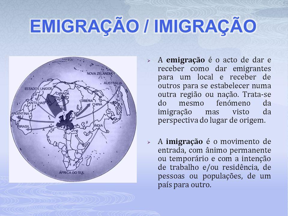  A emigração é o acto de dar e receber como dar emigrantes para um local e receber de outros para se estabelecer numa outra região ou nação. Trata-se