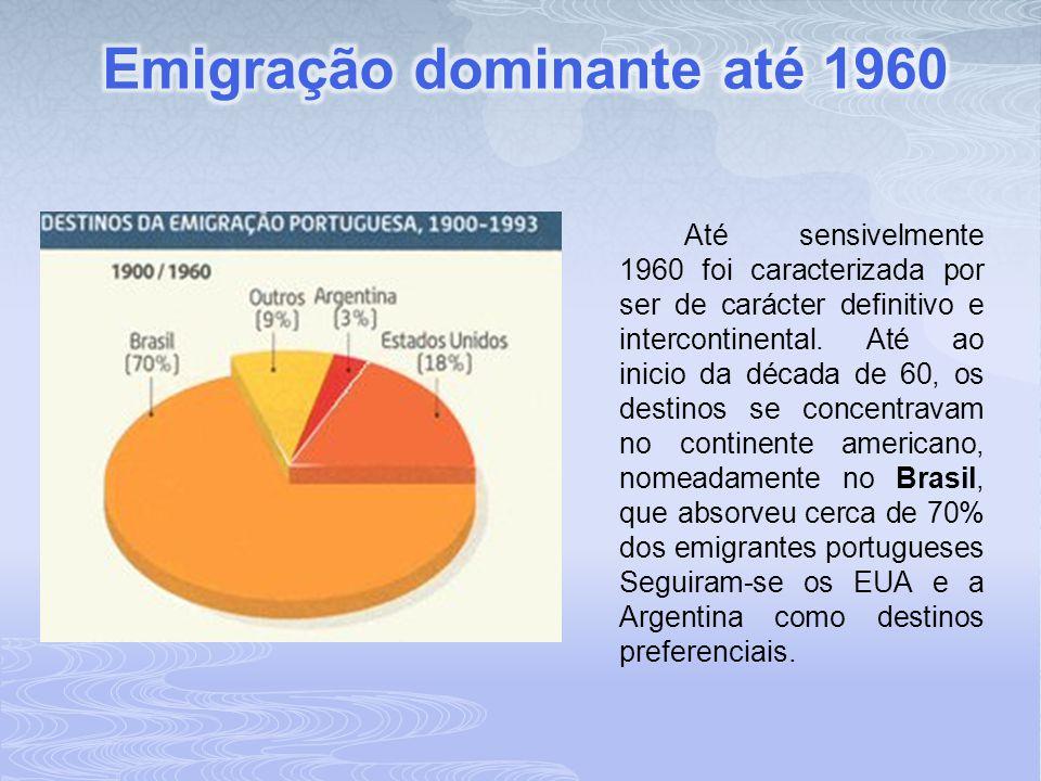 Entre 1960 e 1973 atinge os máximos em termos da corrente emigratória portuguesa, a qual passou a ser, na quase globalidade, intracontinental, isto e, os portugueses passaram a preferir os destinos geograficamente mais próximos, os países industrializados da Europa Ocidental.