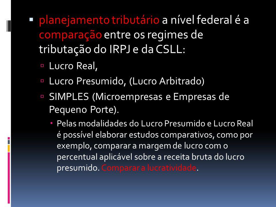  planejamento tributário a nível federal é a comparação entre os regimes de tributação do IRPJ e da CSLL:  Lucro Real,  Lucro Presumido, (Lucro Arbitrado)  SIMPLES (Microempresas e Empresas de Pequeno Porte).