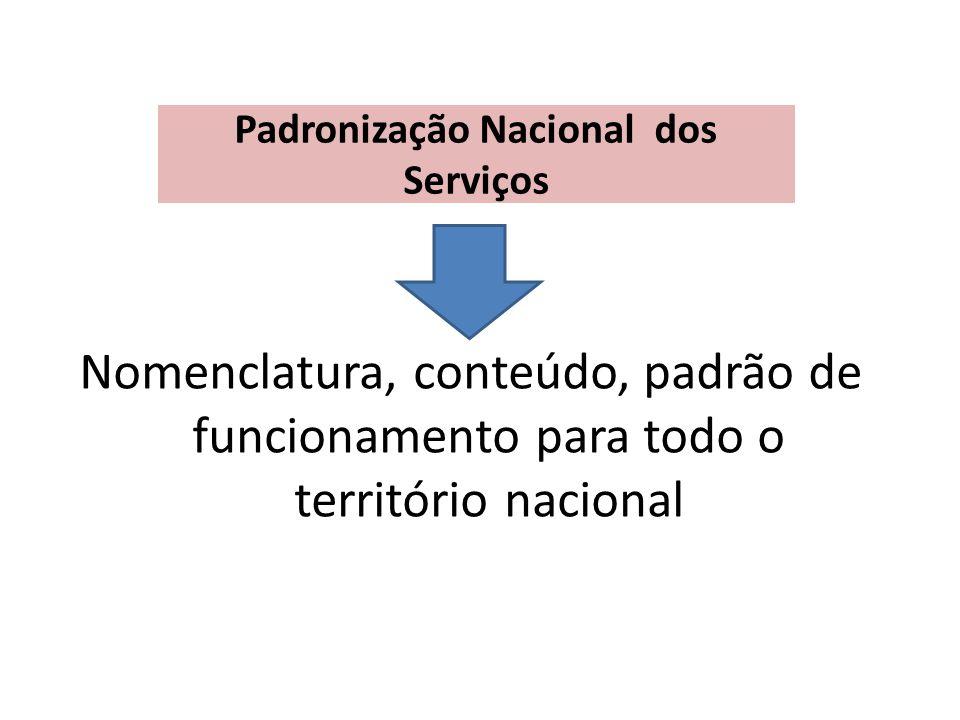 Padronização Nacional dos Serviços Nomenclatura, conteúdo, padrão de funcionamento para todo o território nacional