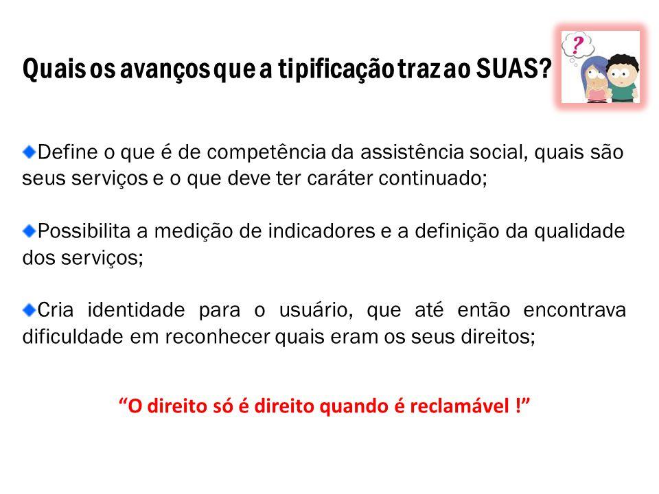 Quais os avanços que a tipificação traz ao SUAS? Define o que é de competência da assistência social, quais são seus serviços e o que deve ter caráter