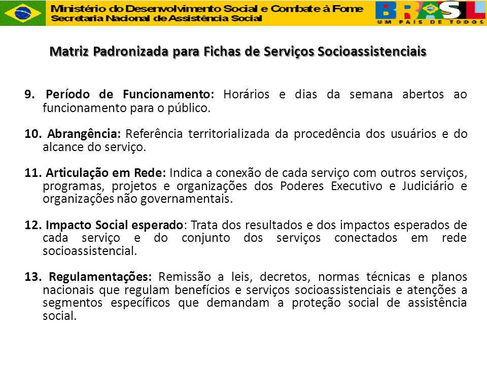 Matriz Padronizada para Fichas de Serviços Socioassistenciais 9. Período de Funcionamento: Horários e dias da semana abertos ao funcionamento para o p