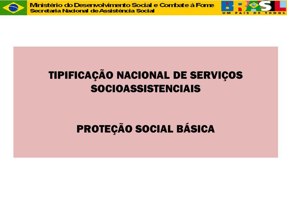 TIPIFICAÇÃO NACIONAL DE SERVIÇOS SOCIOASSISTENCIAIS PROTEÇÃO SOCIAL BÁSICA