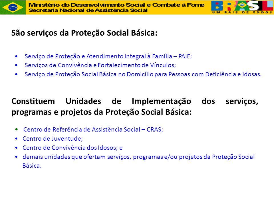 São serviços da Proteção Social Básica: •Serviço de Proteção e Atendimento Integral à Família – PAIF; •Serviços de Convivência e Fortalecimento de Vín