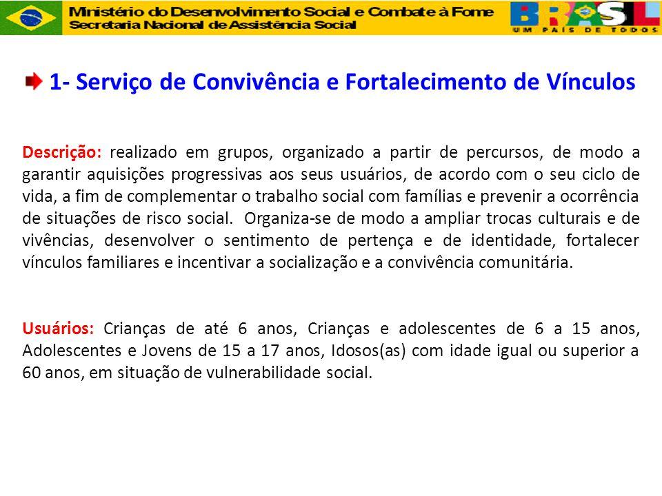 1- Serviço de Convivência e Fortalecimento de Vínculos Descrição: realizado em grupos, organizado a partir de percursos, de modo a garantir aquisições