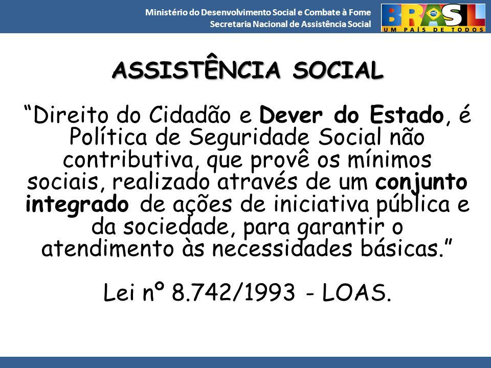 """Ministério do Desenvolvimento Social e Combate à Fome Secretaria Nacional de Assistência Social ASSISTÊNCIA SOCIAL """"Direito do Cidadão e Dever do Esta"""