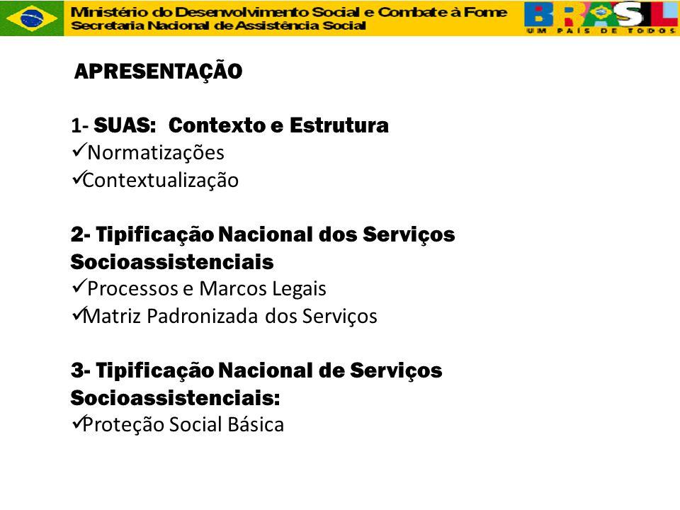 APRESENTAÇÃO 1- SUAS: Contexto e Estrutura  Normatizações  Contextualização 2- Tipificação Nacional dos Serviços Socioassistenciais  Processos e Ma