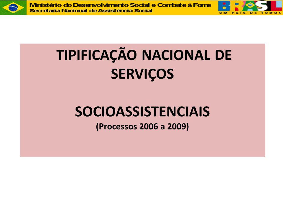 TIPIFICAÇÃO NACIONAL DE SERVIÇOS SOCIOASSISTENCIAIS (Processos 2006 a 2009)