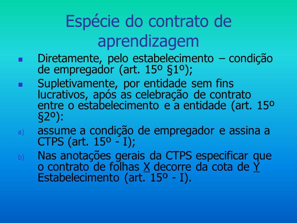 Espécie do contrato de aprendizagem  Diretamente, pelo estabelecimento – condição de empregador (art. 15º §1º);  Supletivamente, por entidade sem fi