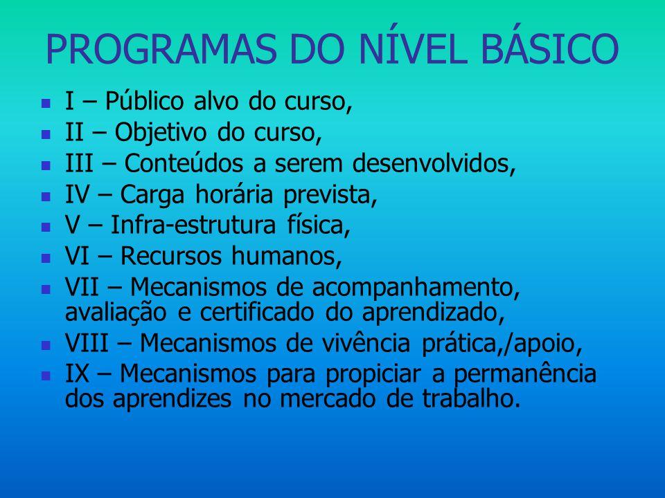 PROGRAMAS DO NÍVEL BÁSICO  I – Público alvo do curso,  II – Objetivo do curso,  III – Conteúdos a serem desenvolvidos,  IV – Carga horária previst