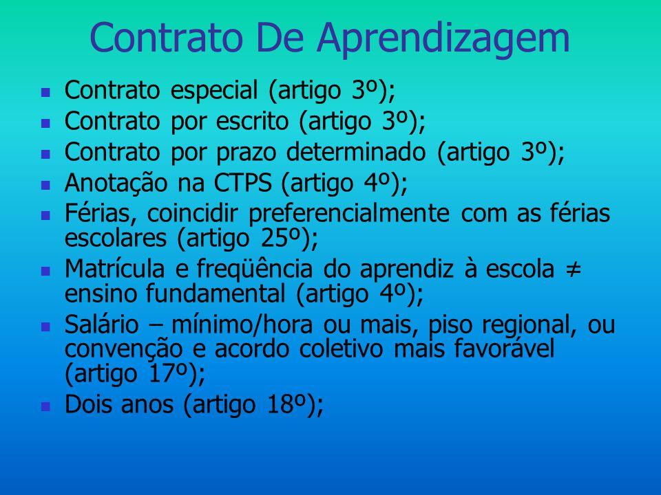Contrato De Aprendizagem  Contrato especial (artigo 3º);  Contrato por escrito (artigo 3º);  Contrato por prazo determinado (artigo 3º);  Anotação