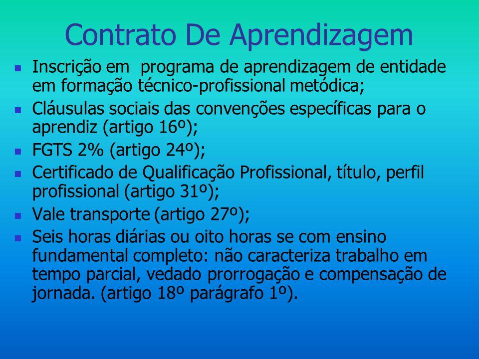  Inscrição em programa de aprendizagem de entidade em formação técnico-profissional metódica;  Cláusulas sociais das convenções específicas para o a