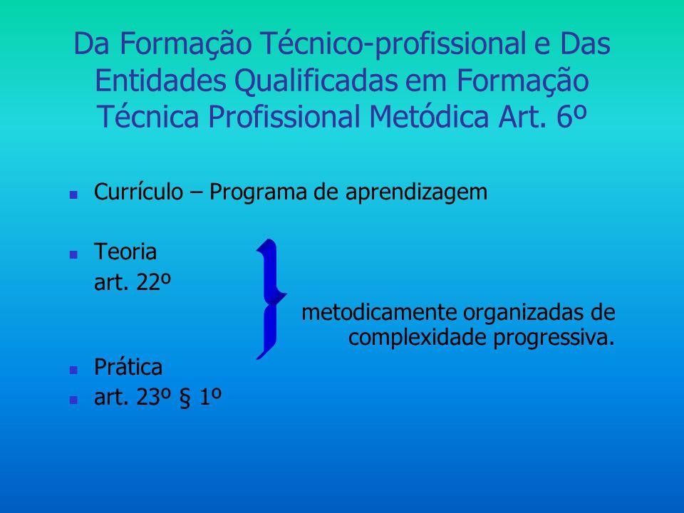 Da Formação Técnico-profissional e Das Entidades Qualificadas em Formação Técnica Profissional Metódica Art. 6º  Currículo – Programa de aprendizagem