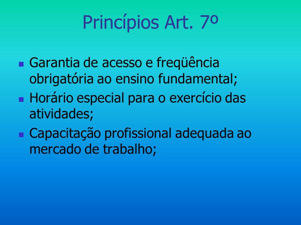 Princípios Art. 7º  Garantia de acesso e freqüência obrigatória ao ensino fundamental;  Horário especial para o exercício das atividades;  Capacita