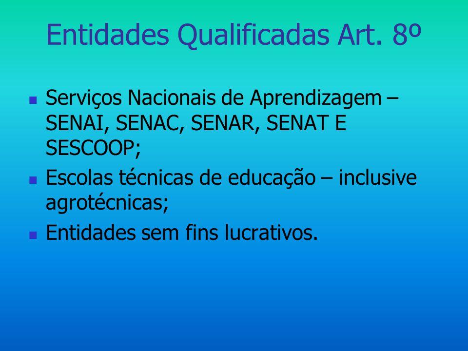 Entidades Qualificadas Art. 8º  Serviços Nacionais de Aprendizagem – SENAI, SENAC, SENAR, SENAT E SESCOOP;  Escolas técnicas de educação – inclusive