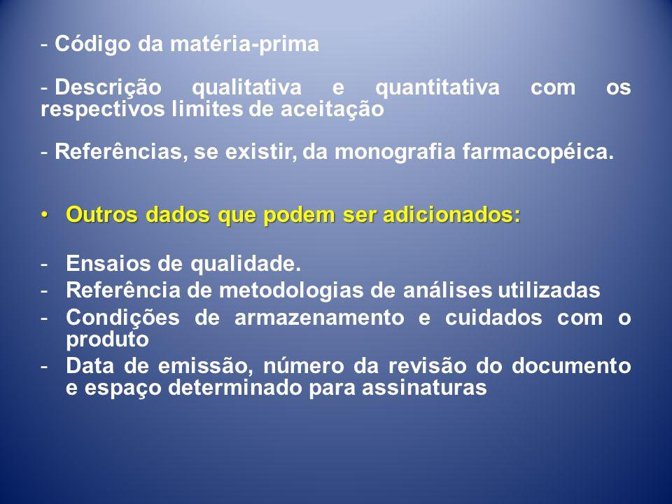 - Código da matéria-prima - Descrição qualitativa e quantitativa com os respectivos limites de aceitação - Referências, se existir, da monografia farm