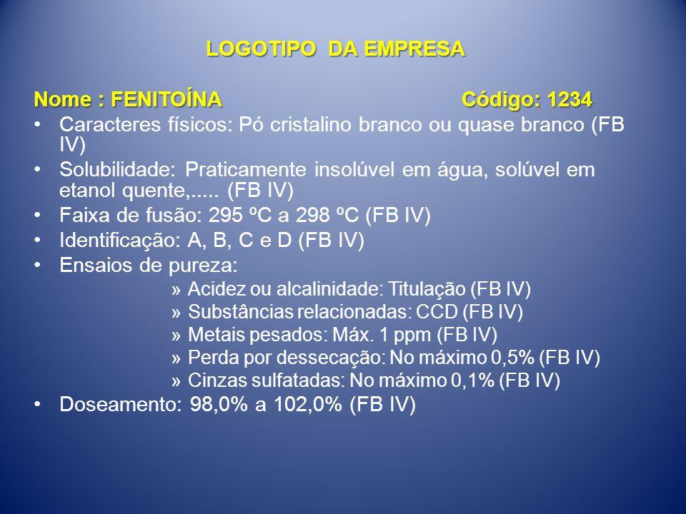 LOGOTIPO DA EMPRESA Nome : FENITOÍNA Código: 1234 •Caracteres físicos: Pó cristalino branco ou quase branco (FB IV) •Solubilidade: Praticamente insolú