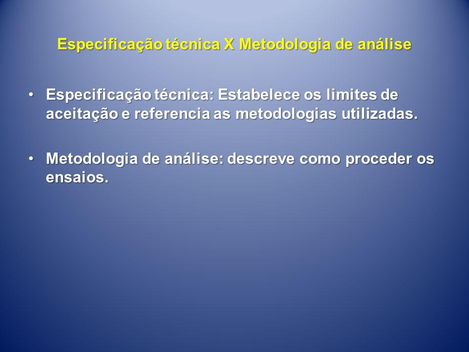 Especificação técnica X Metodologia de análise •Especificação técnica: Estabelece os limites de aceitação e referencia as metodologias utilizadas. •Me