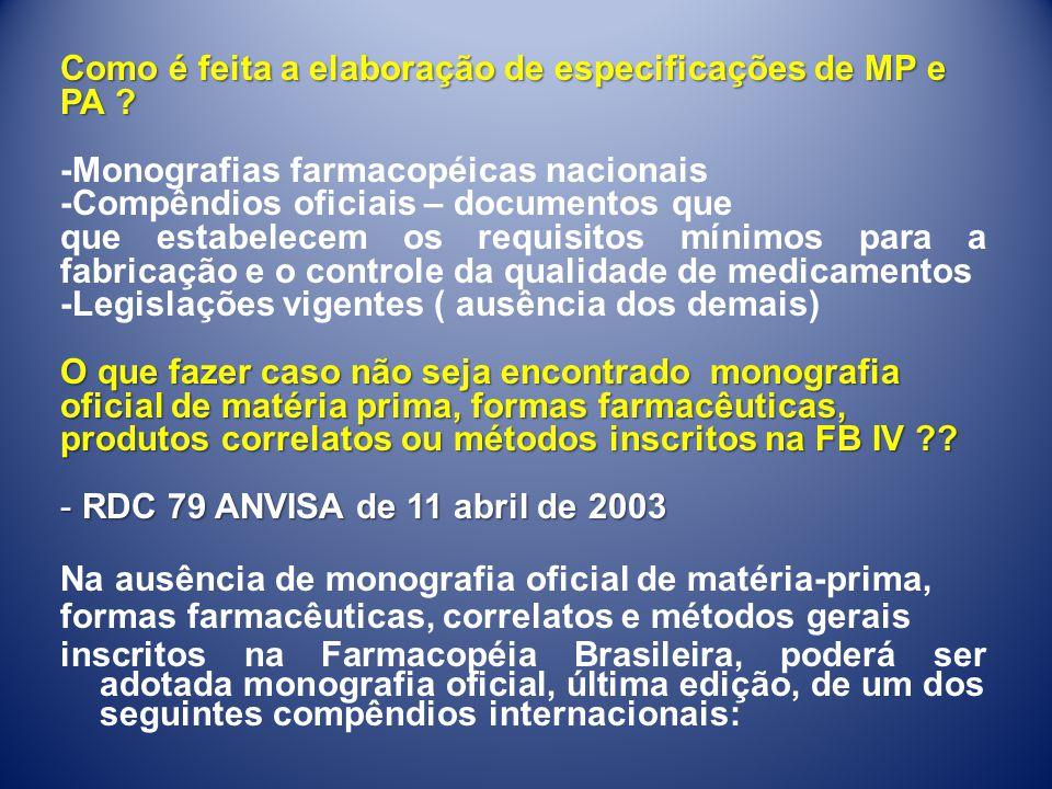Como é feita a elaboração de especificações de MP e PA ? -Monografias farmacopéicas nacionais -Compêndios oficiais – documentos que que estabelecem os