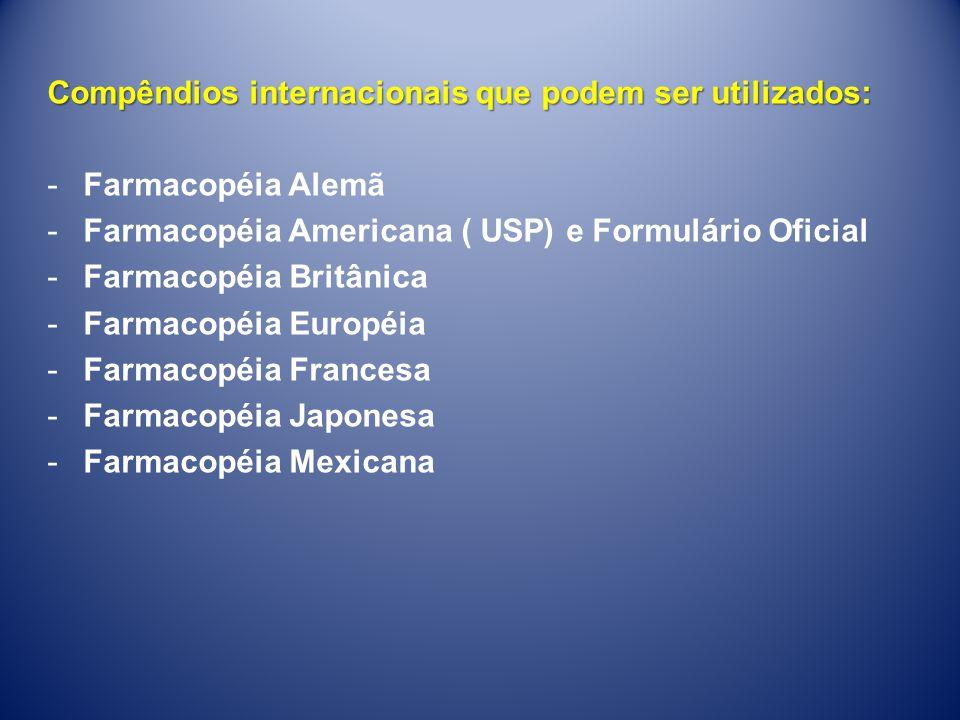 RDC nº 169, de 21 de Agosto de 2006 - Inclusão da Farmacopéia Portuguesa Compêndio oficial aceito pela ANVISA RDC nº 37, de 21 de Agosto de 2009 -Inclusão da Farmacopéia Internacional (OMS) e Farmacopéia Argentina na lista de compêndios aceitos pela Agência.