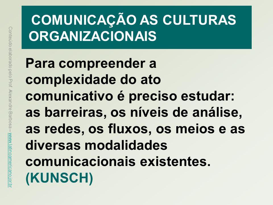 Conteúdo elaborado pelo Prof. Alexandre Barbosa – www.latinoamericano.jor.br www.latinoamericano.jor.br COMUNICAÇÃO AS CULTURAS ORGANIZACIONAIS Para c