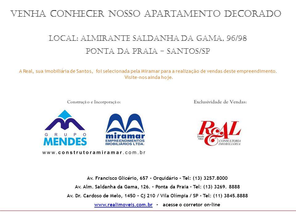 venha conhecer nosso apartamento decorado A Real, sua imobiliária de Santos, foi selecionada pela Miramar para a realização de vendas deste empreendim