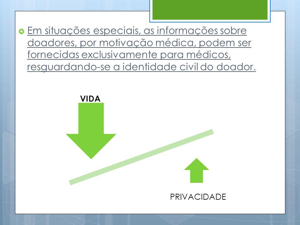  Em situações especiais, as informações sobre doadores, por motivação médica, podem ser fornecidas exclusivamente para médicos, resguardando-se a ide