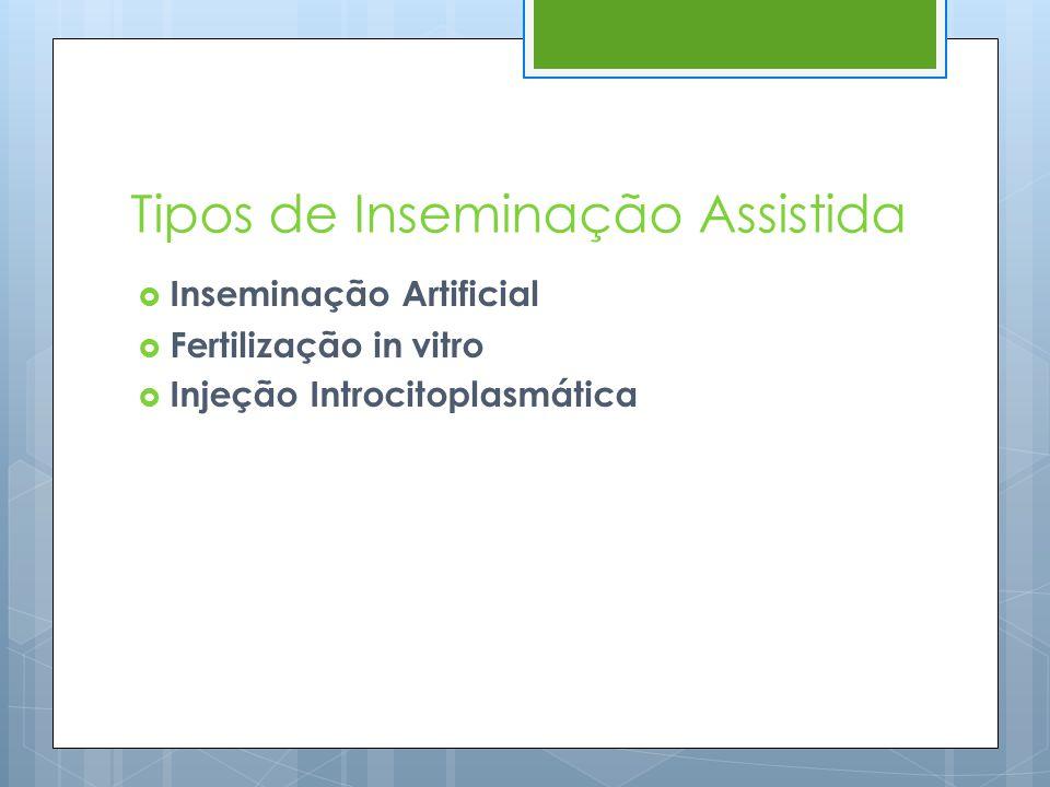 Tipos de Inseminação Assistida  Inseminação Artificial  Fertilização in vitro  Injeção Introcitoplasmática