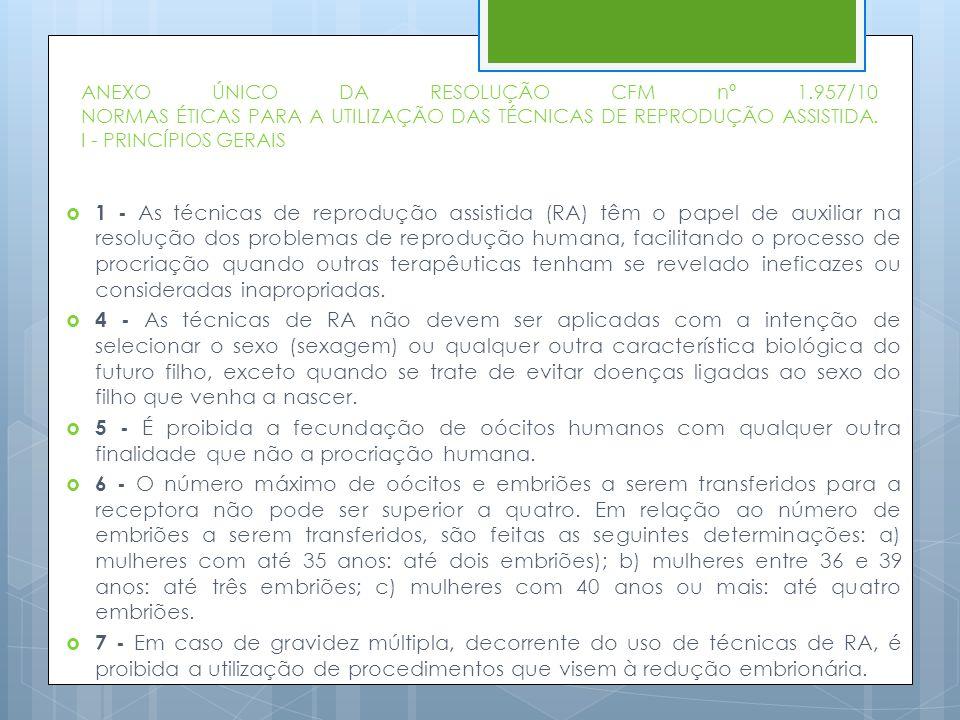 ANEXO ÚNICO DA RESOLUÇÃO CFM nº 1.957/10 NORMAS ÉTICAS PARA A UTILIZAÇÃO DAS TÉCNICAS DE REPRODUÇÃO ASSISTIDA. I - PRINCÍPIOS GERAIS  1 - As técnicas