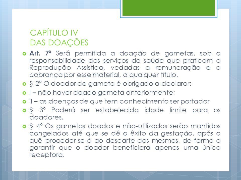 CAPÍTULO IV DAS DOAÇÕES  Art. 7º Será permitida a doação de gametas, sob a responsabilidade dos serviços de saúde que praticam a Reprodução Assistida