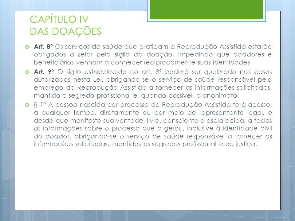 CAPÍTULO IV DAS DOAÇÕES  Art. 8º Os serviços de saúde que praticam a Reprodução Assistida estarão obrigados a zelar pelo sigilo da doação, impedindo