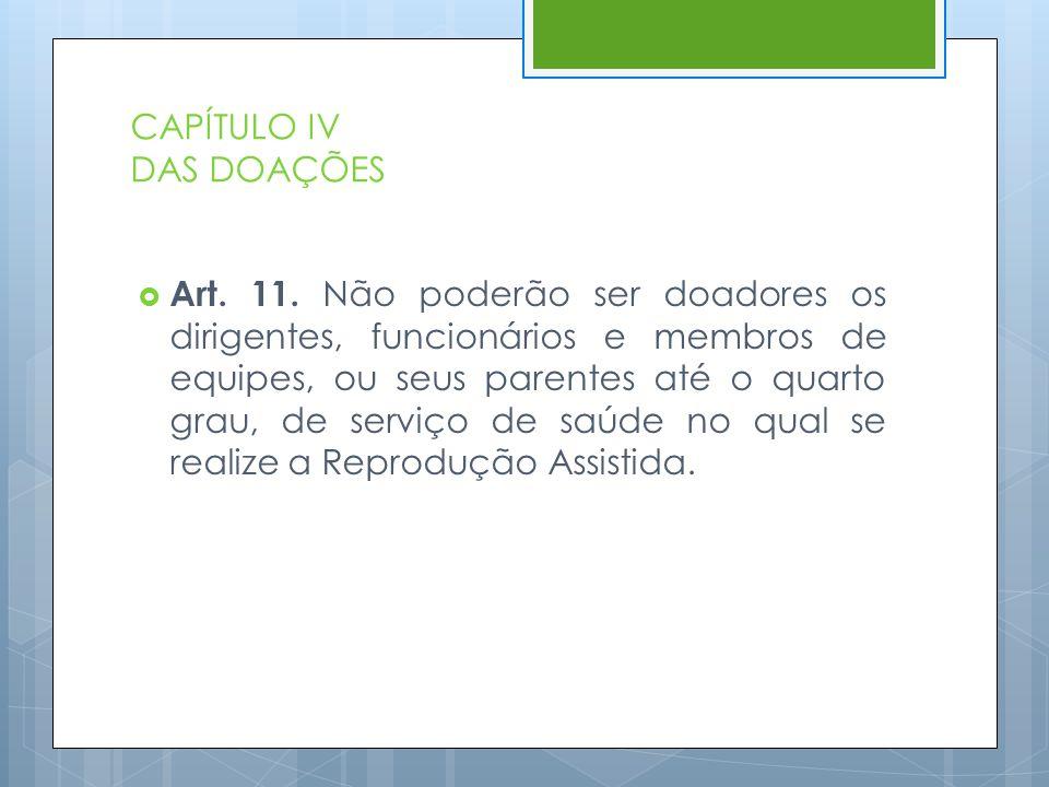 CAPÍTULO IV DAS DOAÇÕES  Art. 11. Não poderão ser doadores os dirigentes, funcionários e membros de equipes, ou seus parentes até o quarto grau, de s