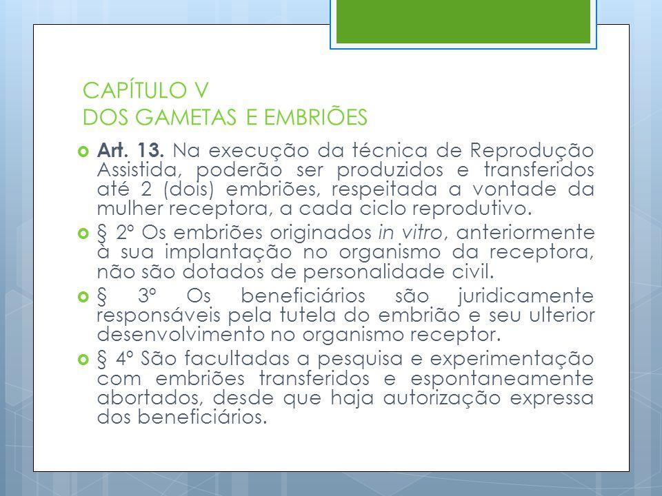 CAPÍTULO V DOS GAMETAS E EMBRIÕES  Art. 13. Na execução da técnica de Reprodução Assistida, poderão ser produzidos e transferidos até 2 (dois) embriõ
