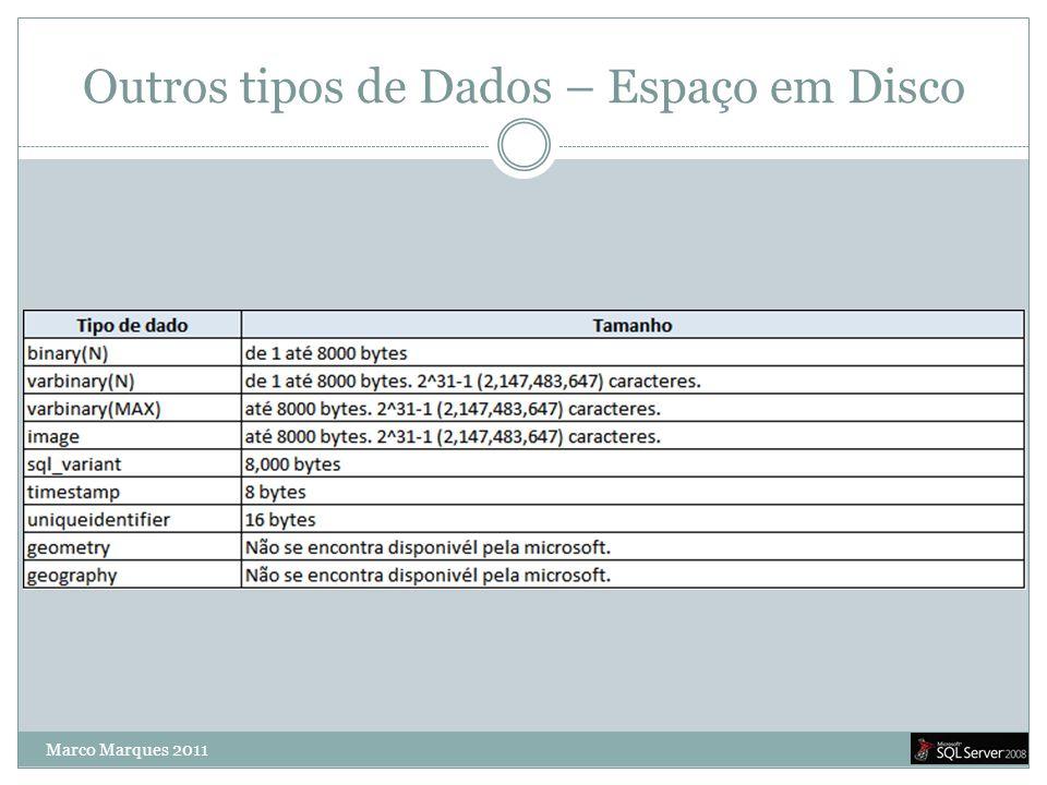 Outros tipos de Dados – Espaço em Disco Marco Marques 2011