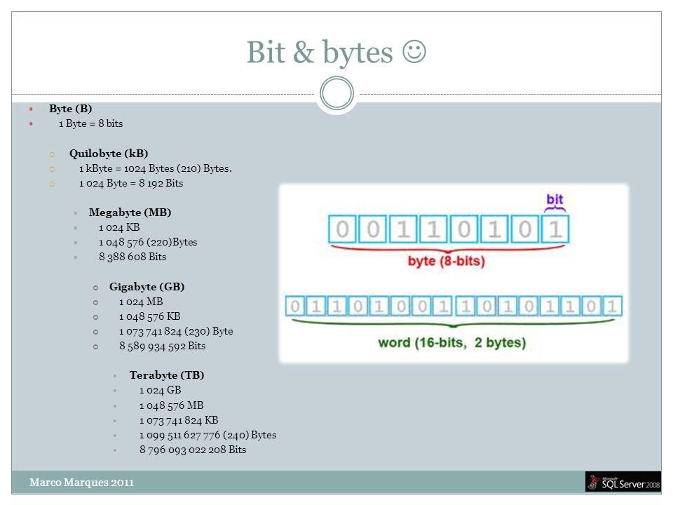 Bit & bytes   Byte (B)  1 Byte = 8 bits  Quilobyte (kB)  1 kByte = 1024 Bytes (210) Bytes.  1 024 Byte = 8 192 Bits  Megabyte (MB)  1 024 KB 