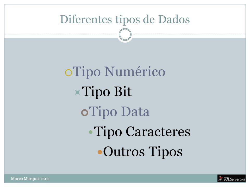 Diferentes tipos de Dados  Tipo Numérico  Tipo Bit Tipo Data •Tipo Caracteres  Outros Tipos Marco Marques 2011