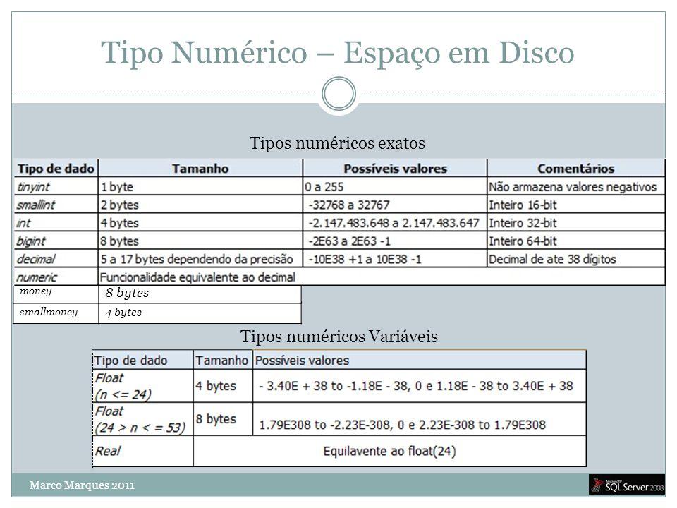 smallmoney 4 bytes money 8 bytes Tipo Numérico – Espaço em Disco Tipos numéricos exatos Tipos numéricos Variáveis Marco Marques 2011