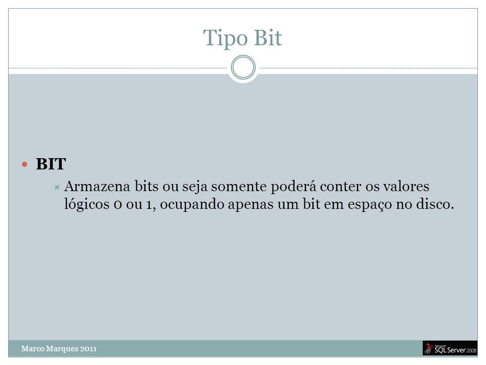 Tipo Bit  BIT  Armazena bits ou seja somente poderá conter os valores lógicos 0 ou 1, ocupando apenas um bit em espaço no disco. Marco Marques 2011