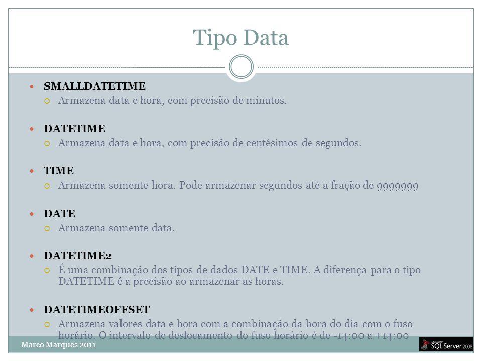 Tipo Data  SMALLDATETIME  Armazena data e hora, com precisão de minutos.  DATETIME  Armazena data e hora, com precisão de centésimos de segundos.