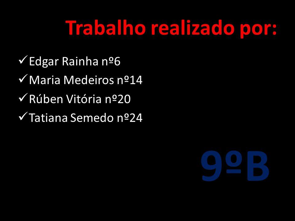 Trabalho realizado por:  Edgar Rainha nº6  Maria Medeiros nº14  Rúben Vitória nº20  Tatiana Semedo nº24 9ºB